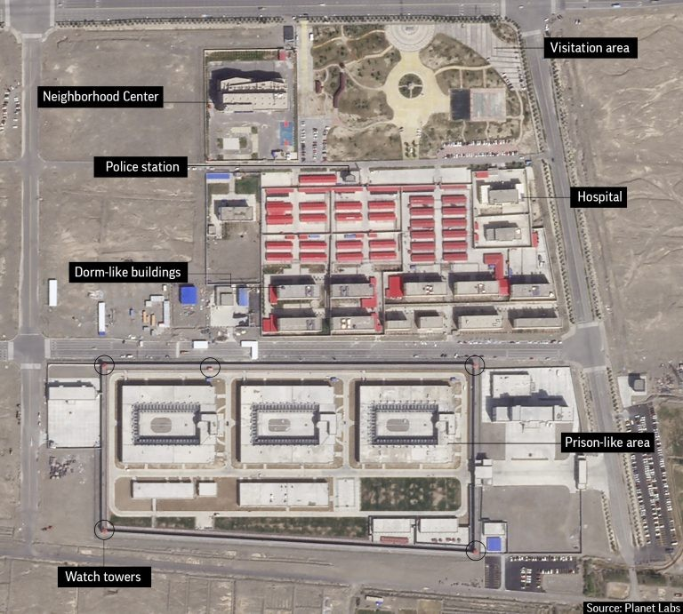Internment camp near Kunshan Industrial Park in Artux, Xinjiang. (Planet Labs image via AP)