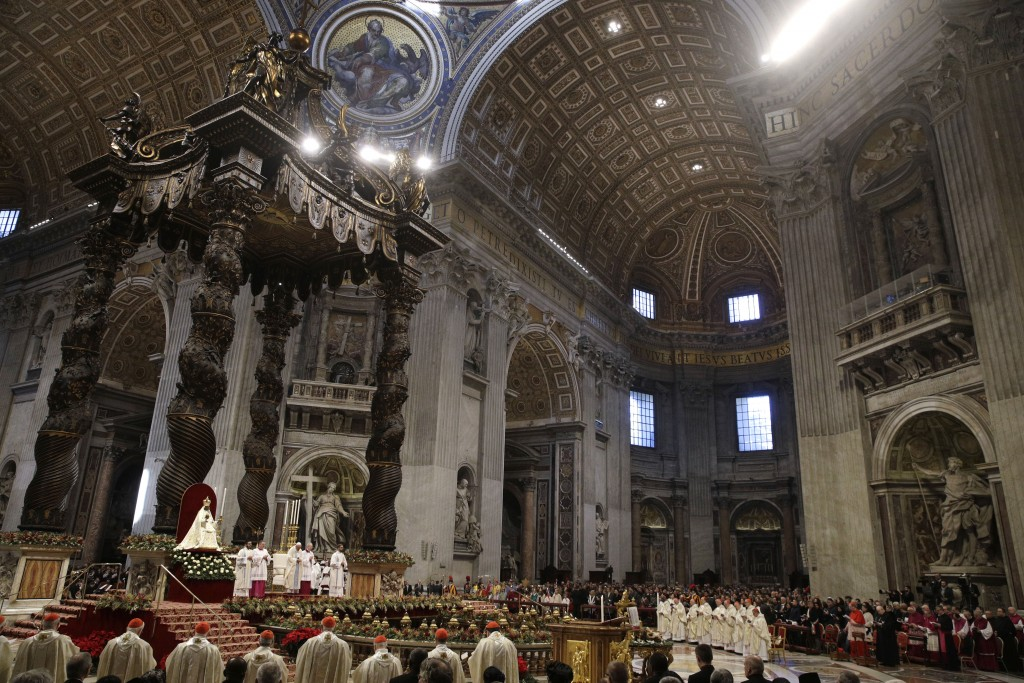 Pope Francis presides over a Mass for the solemnity of St. Mary at the beginning of the new year, in St. Peter's Basilica at the Vatican, Wednesday, J...
