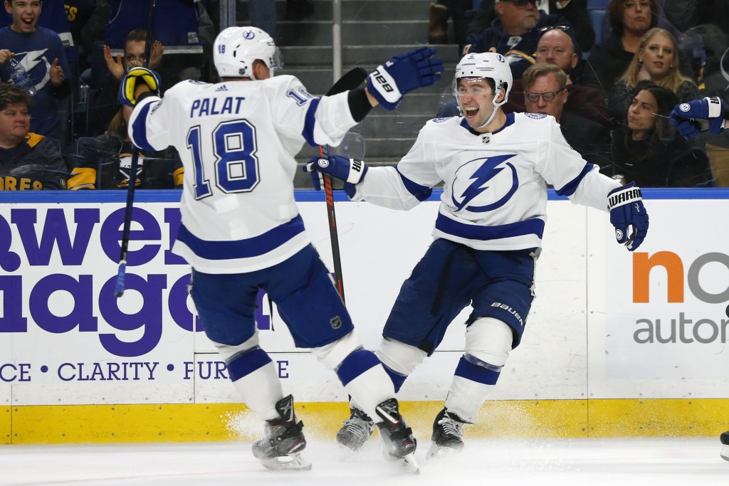 Tampa Bay Lightning forward Tyler Johnson (9) celebrates his goal with teammate Ondrej Palat (18during the second period of an NHL hockey game against...