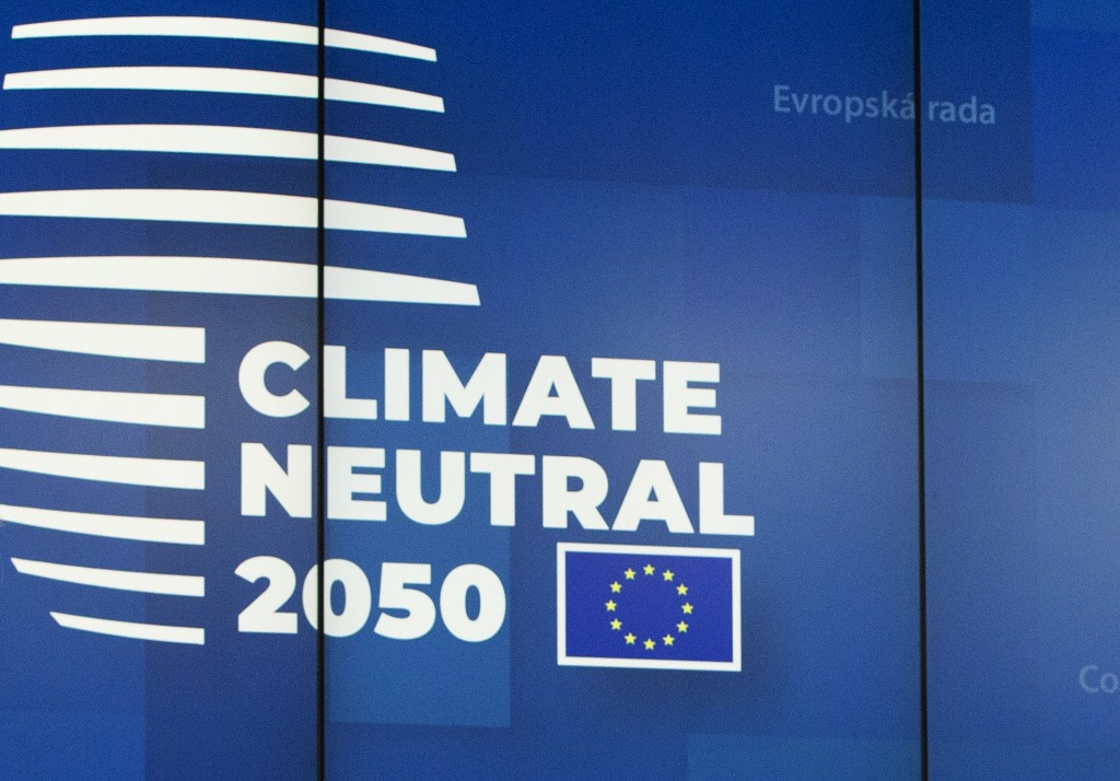 FILE - In this file photo dated Friday, Dec. 13, 2019, a European logo as European Union leaders gathered for their year-end summit and discussed clim...