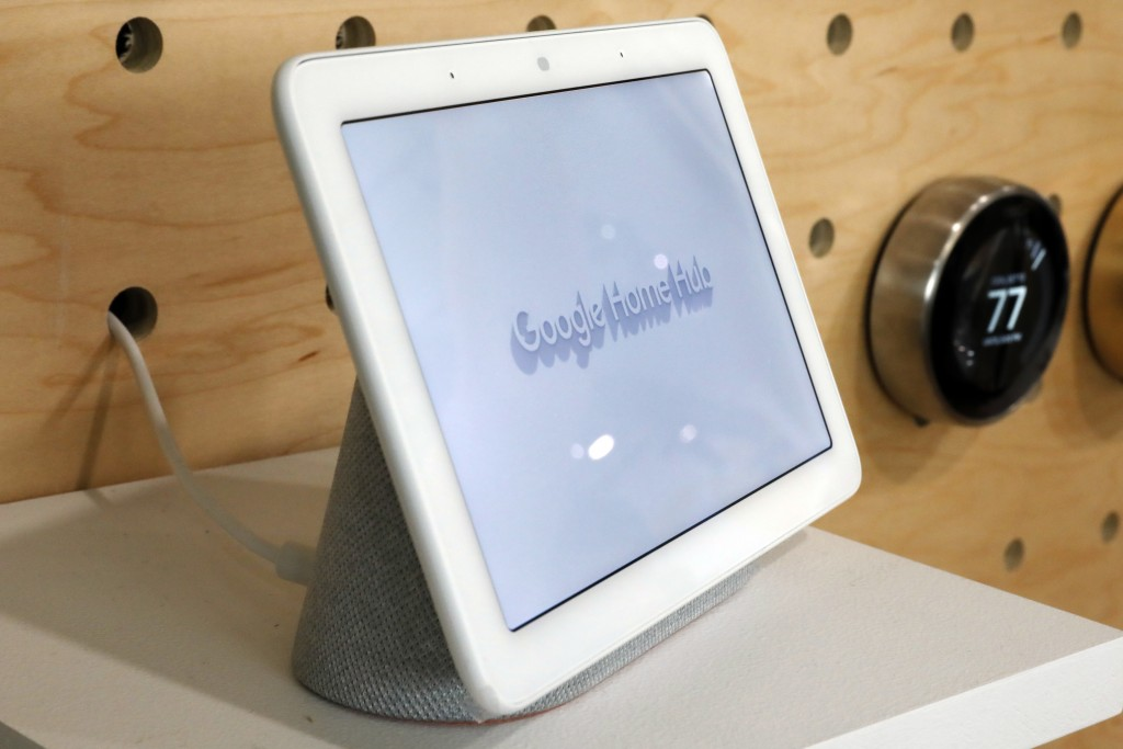 FILE - This Oct. 9, 2018 file photo shows a Google Home Hub displayed in New York. Many of these internet-connected speaker devices listen constantly ...