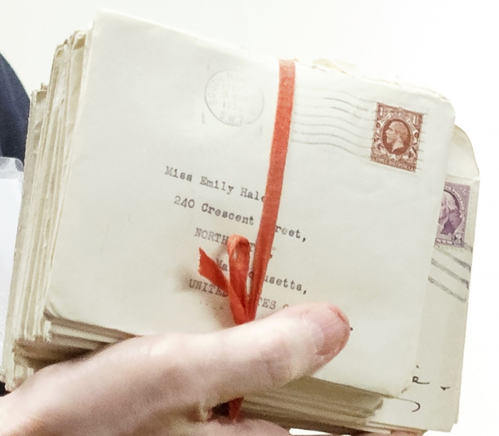 In this Oct. 14, 2019, photo, letters between poet T.S. Eliot and longtime confidante Emily Hale are displayed in Princeton, N.J. Thursday, Jan. 2, 20...