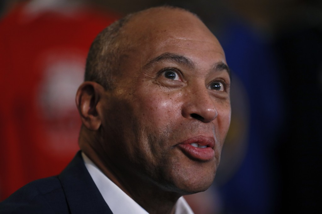 FILE - In this Nov. 18, 2019, file photo, Democratic presidential candidate former Massachusetts Gov. Deval Patrick speaks to local residents during a...