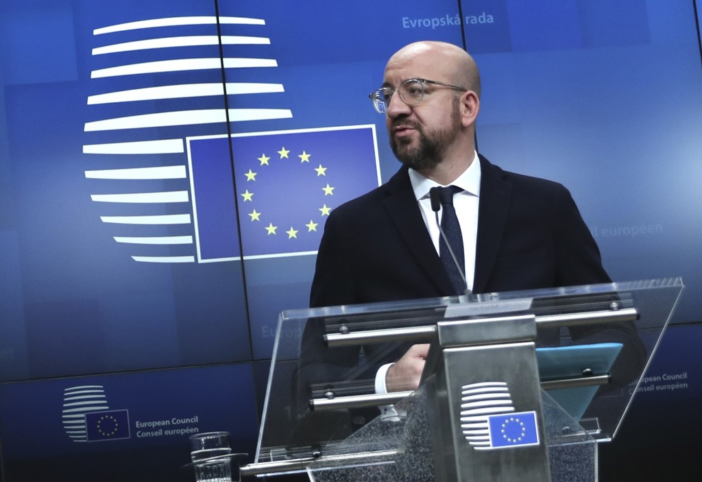 FILE - In this file photo dated Friday, Dec. 13, 2019, European Council President Charles Michel during a media conference at the conclusion of an EU ...
