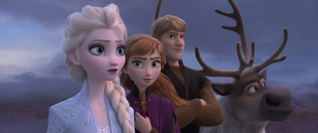 This image released by Disney shows Elsa, voiced by Idina Menzel, from left, Anna, voiced by Kristen Bell, Kristoff, voiced by Jonathan Groff and Sven...