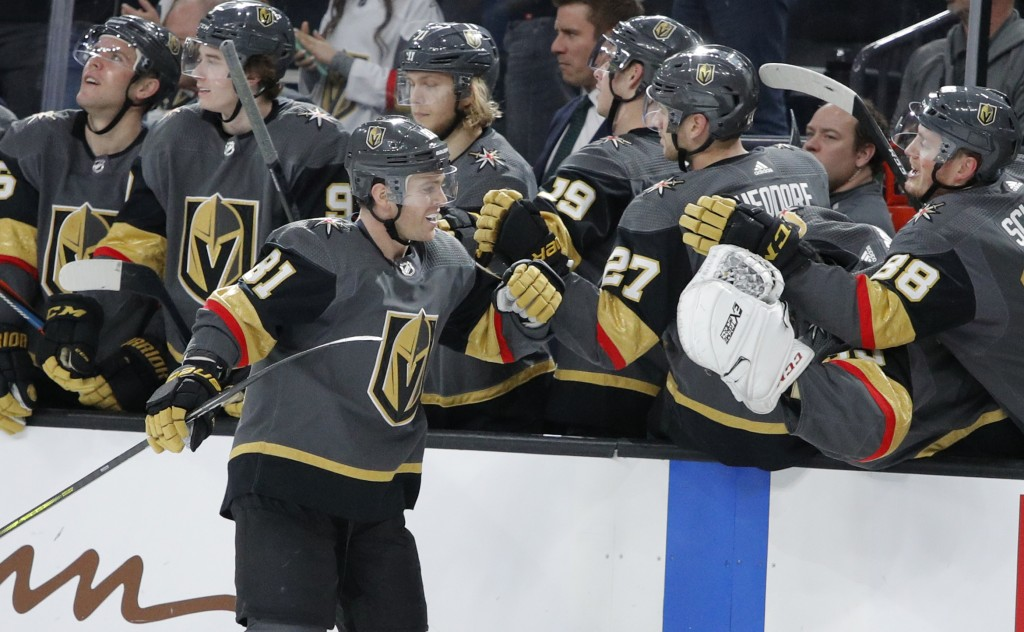 Vegas Golden Knights center Jonathan Marchessault (81) celebrates after scoring against the Anaheim Ducks during the third period of an NHL hockey gam...