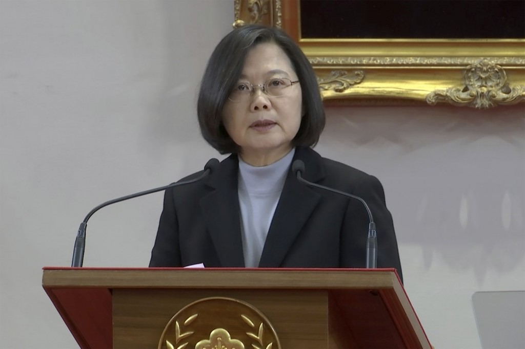 In this image made from a video, Taiwan President Tsai Ing-wen gives an annual New Year's statement to the media in Taipei, Taiwan Wednesday, Jan. 1, ...