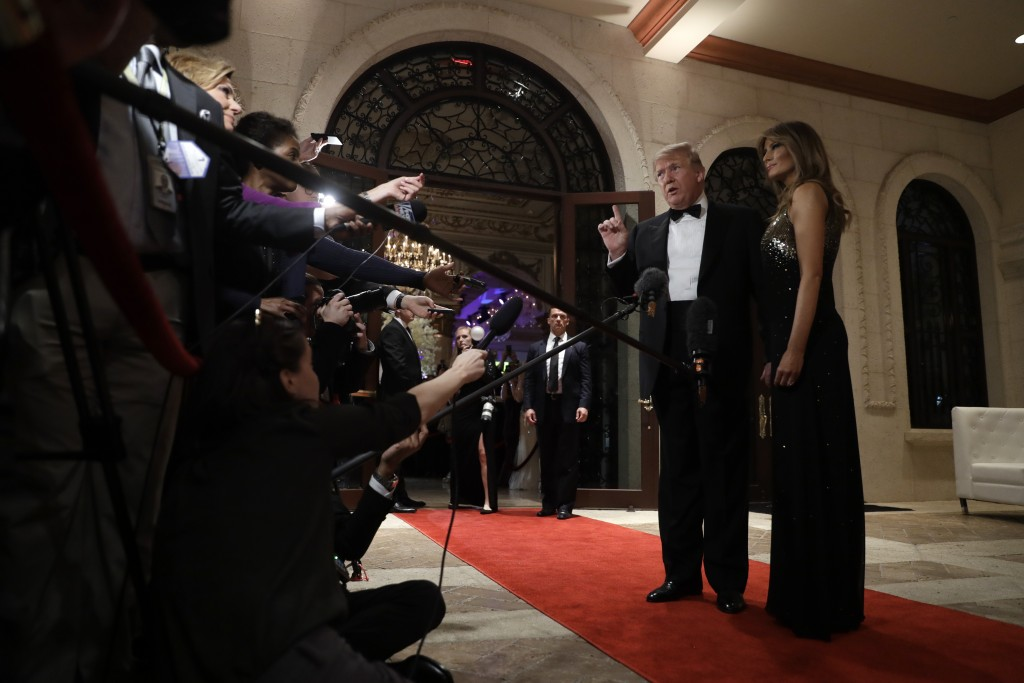 President Donald Trump speaks to the media about the situation at the U.S. embassy in Baghdad, from his Mar-a-Lago property, Tuesday, Dec. 31, 2019, i...
