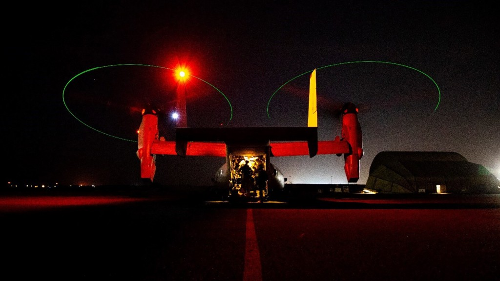 In this photo provided by U.S. Department of Defense, the Army's AH-64 Apache helicopter from 1st Battalion, 227th Aviation Regiment, 34th Combat Avia...