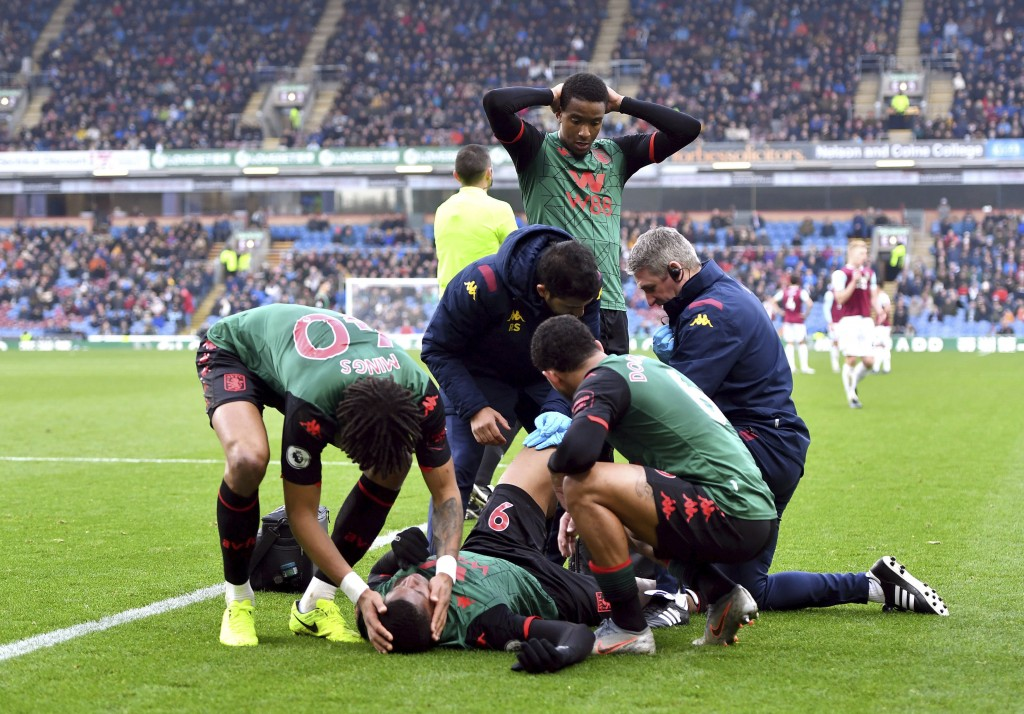 Aston Villa's Wesley receives treatment after an injury , during the English Premier League soccer match between Burnley and Aston Villa, at Turf Moor...