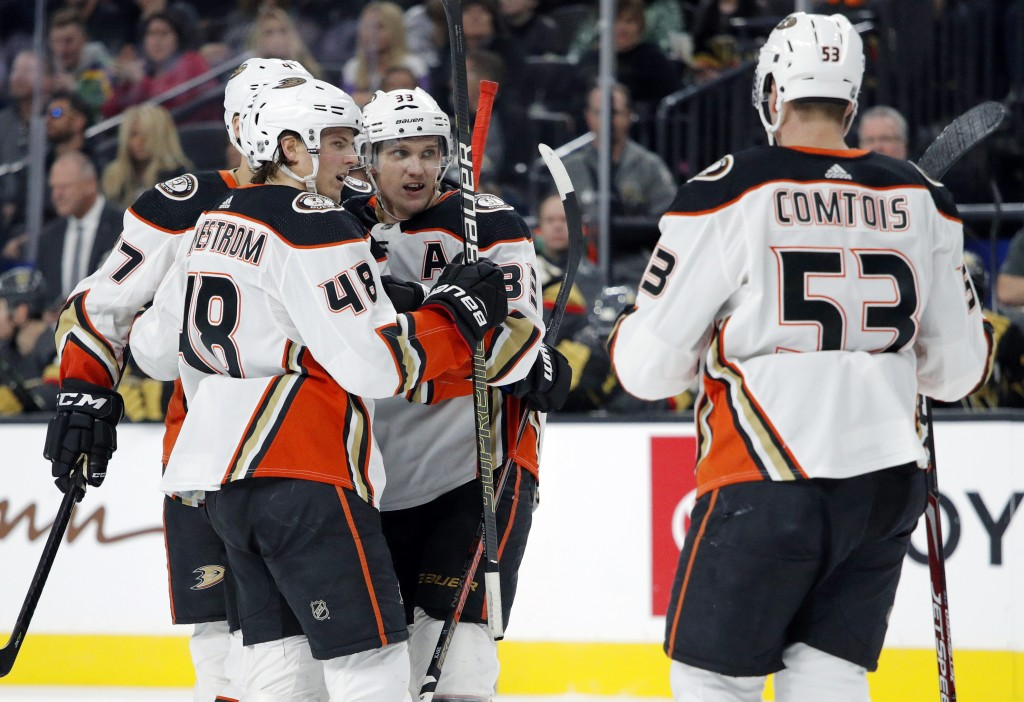 Anaheim Ducks right wing Jakob Silfverberg (33) celebrates after scoring against the Vegas Golden Knights during the third period of an NHL hockey gam...