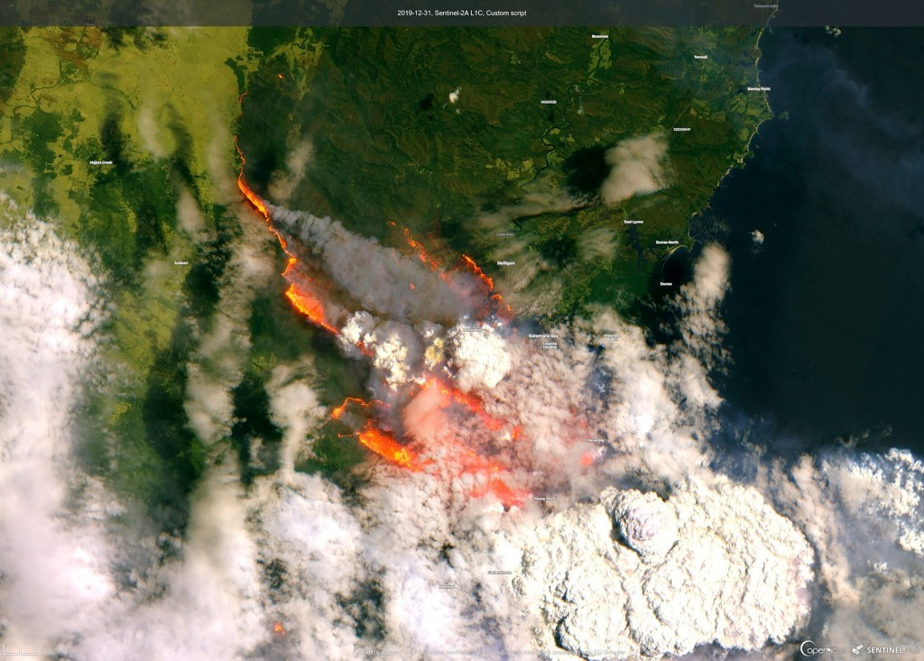 In this satellite image released by Copernicus Sentinel imagery, 2020 twitter page dated Dec. 31, 2019, shows wildfires burning across Australia. (Cop...