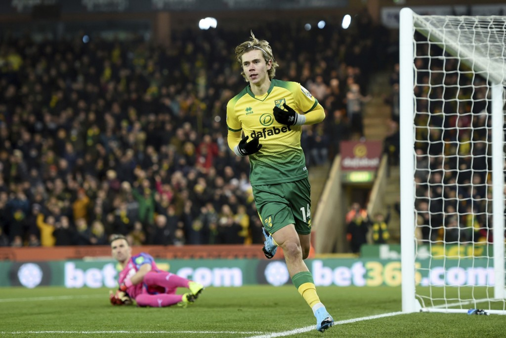 Norwich City's Todd Cantwell celebrates scoring his side's first goal of the game against Crystal Palace, during their English Premier League soccer m...