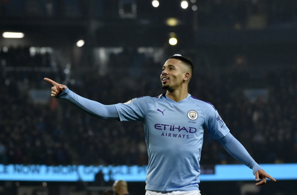 Manchester City's Gabriel Jesus celebrates after scoring his side's opening goal during the English Premier League soccer match between Manchester Cit...