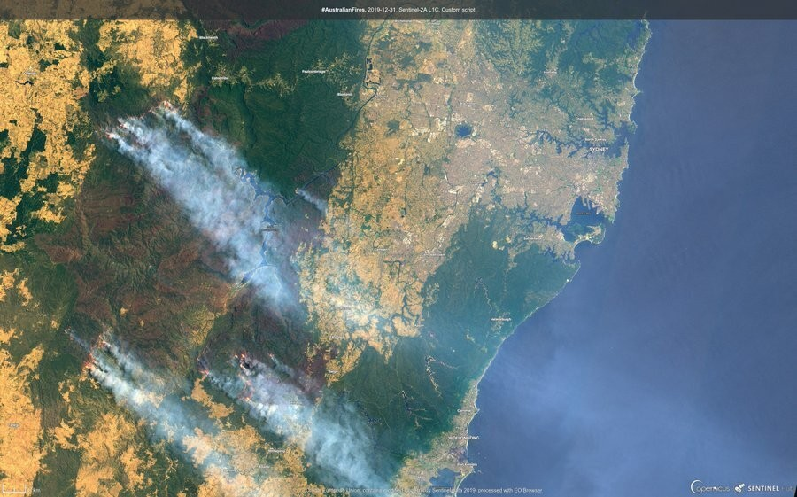 In this satellite image released by Copernicus Sentinel Imagery, 2020 twitter page dated Dec. 31, 2019, fires burning around Sydney, Australia. (Coper...