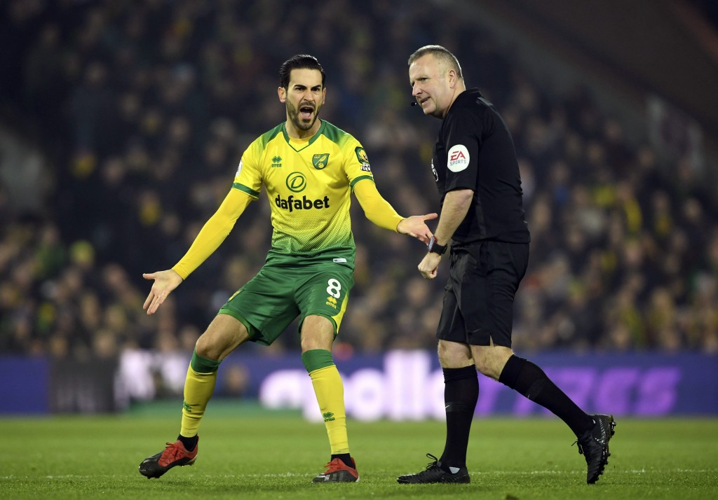 Norwich City's Mario Vrancic gestures at referee Jon Moss during the game against Crystal Palace, during their English Premier League soccer match at ...