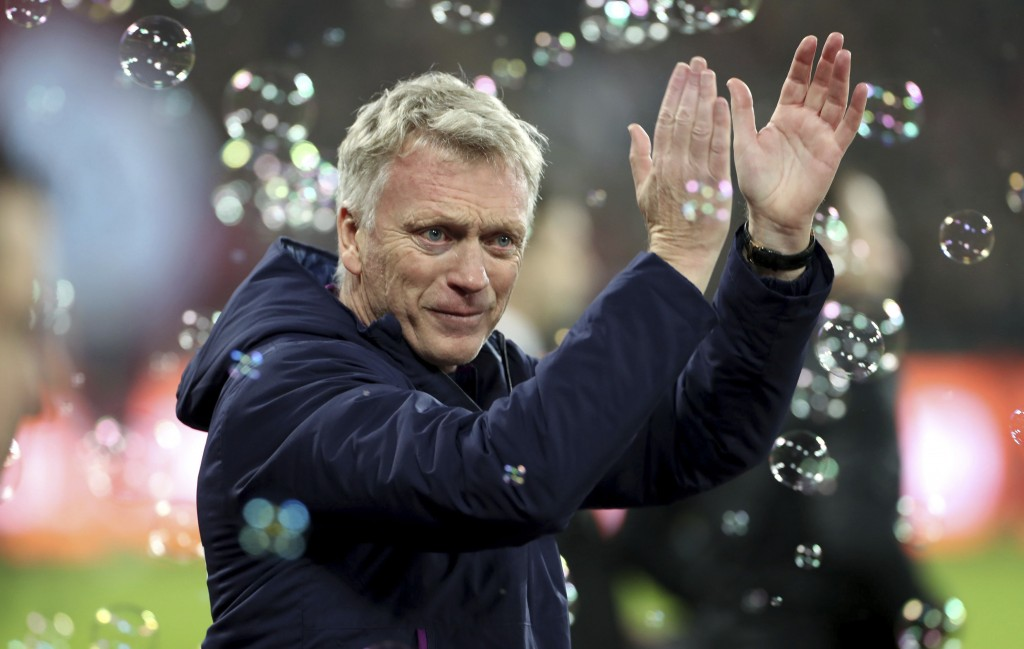 West Ham manager David Moyes salutes fans before the game against Bournemouth during their English Premier League soccer match at the London Stadium, ...