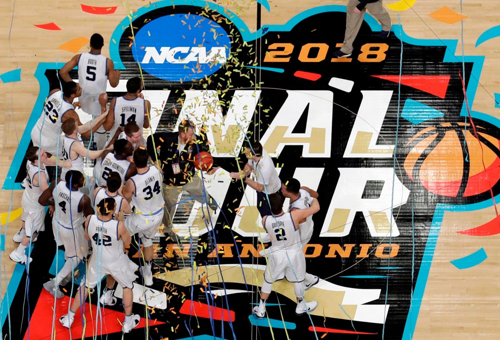 FILE - In this April 2, 2018, file photo, Villanova players celebrate after the championship game of the Final Four NCAA college basketball tournament...