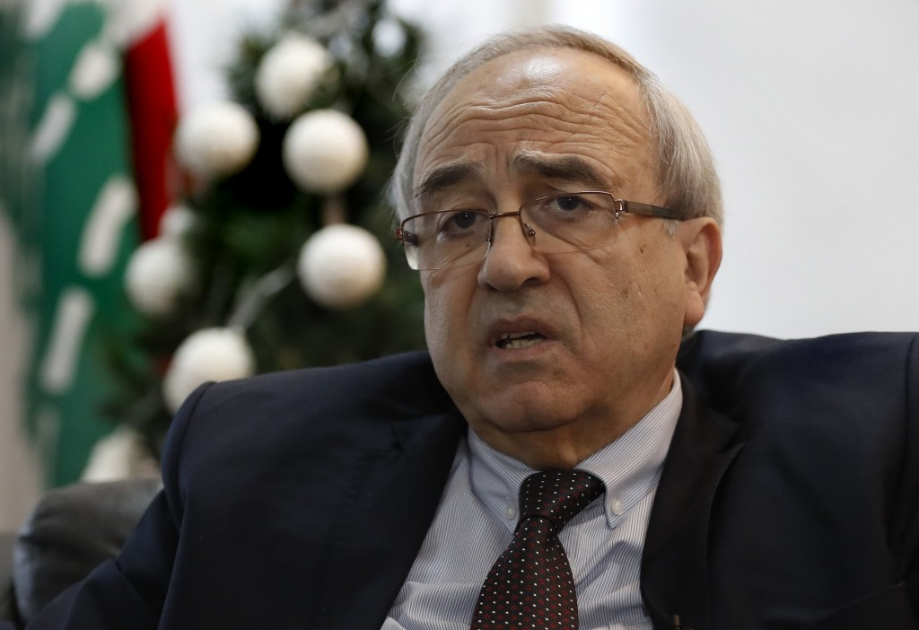 Lebanese Justice Minister Albert Serhan, speaks during an interview with the Associated Press, in Beirut, Lebanon, Thursday, Jan. 2, 2020. Serhan said...
