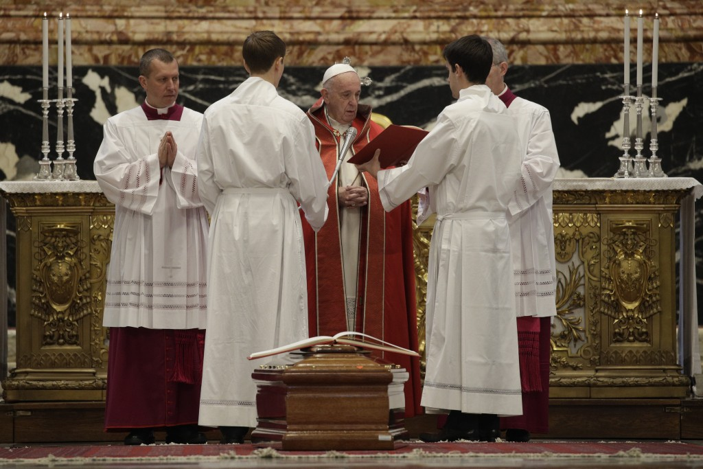 Pope Francis presides over the funeral service for late Cardinal Prosper Grech, in St. Peter's Basilica at the Vatican, Thursday, Jan. 2, 2020. (AP Ph...