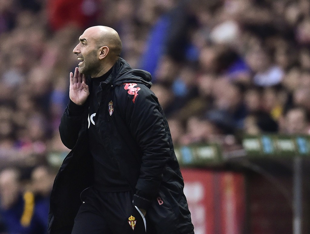 FILE - In this file photo dated Wednesday, Feb. 17, 2016, Sporting de Gijon's head coach Abelardo Fernandez, gives instructions during their Spanish L...