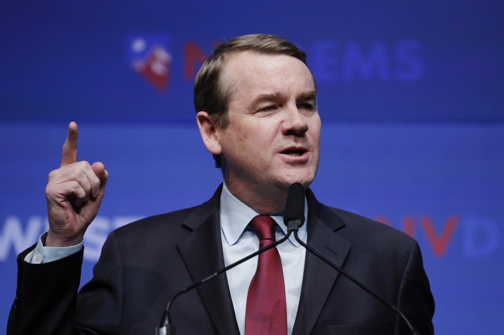 FILE - In this Sunday, Nov. 17, 2019, file photo, Democratic presidential candidate U.S. Sen. Michael Bennet, D-Colo., speaks during a fundraiser for ...