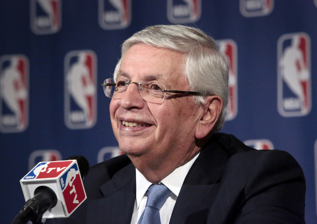 FILE - In this Oct. 23, 2013 file photo, NBA Commissioner David Stern smiles during a news conference after an NBA board of governors meeting in New Y...