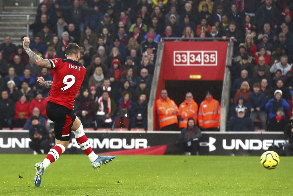Southampton's Danny Ings scores his side's first goal of the game, during the English Premier League soccer match between Southampton and Tottenham Ho...