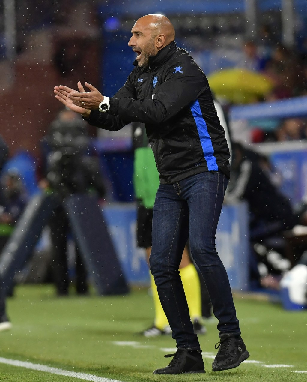 FILE - In this file photo dated Saturday, Oct. 6, 2018, Deportivo Alaves' head manager Abelardo Fernandez, during the Spanish La Liga soccer match aga...