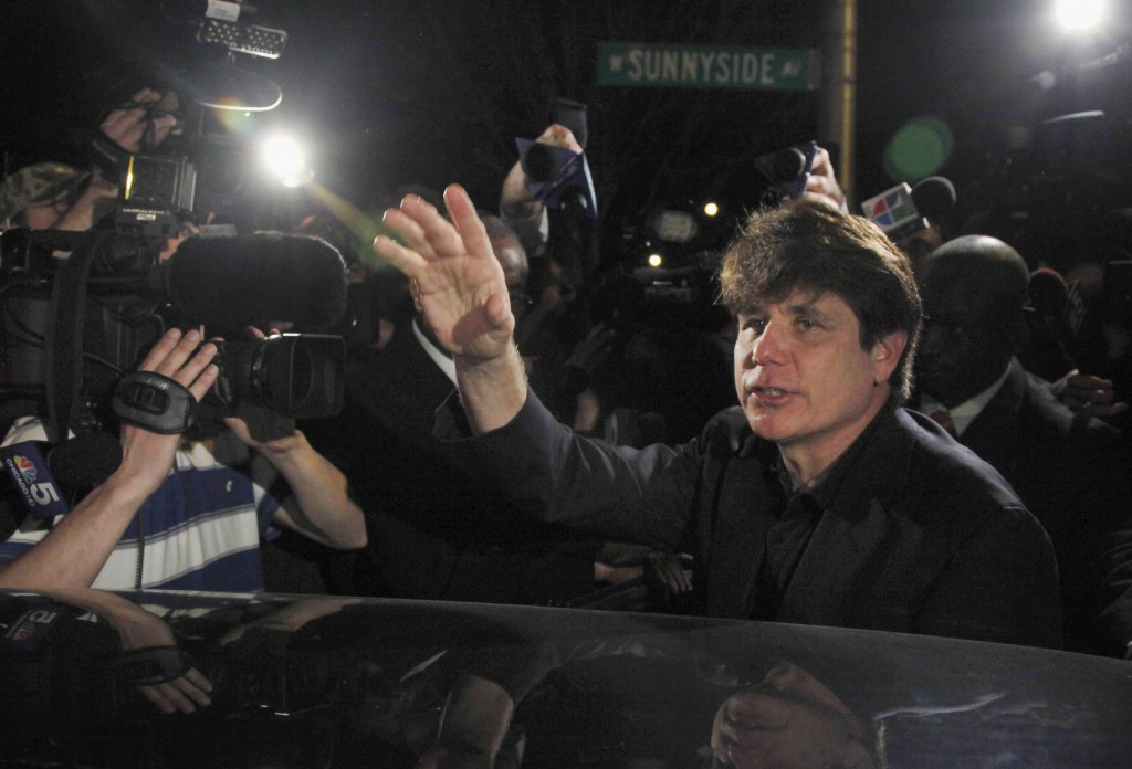 FILE - In this March 15, 2012 file photo, former Democratic Illinois Gov. Rod Blagojevich departs his Chicago home for Littleton, Colo., to begin his ...
