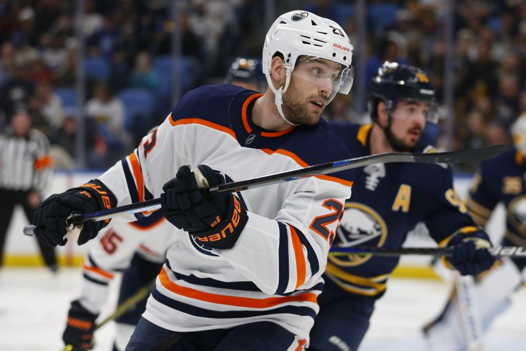 Edmonton Oilers forward Riley Sheahan (23) skates during the second period of an NHL hockey game against the Buffalo Sabres, Thursday, Jan. 2, 2020, i...