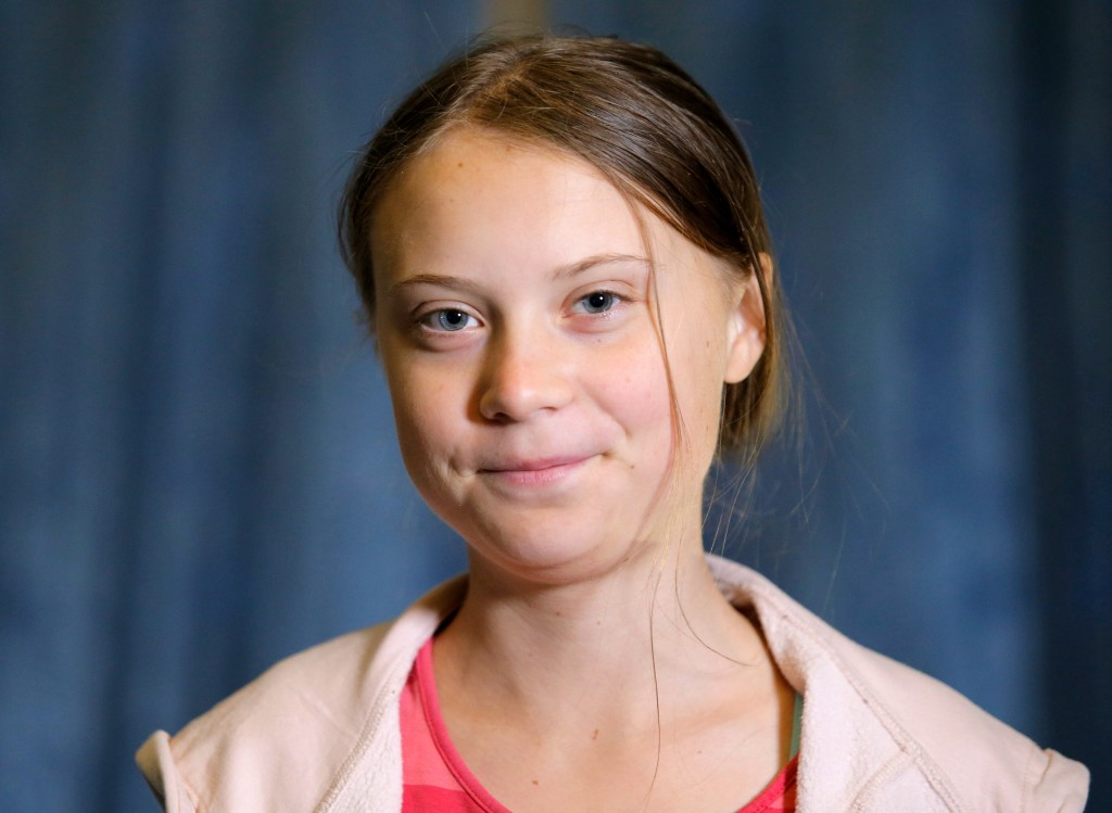 FILE - In this Friday, Sept. 20, 2019 file photo, Swedish environmental activist Greta Thunberg attends an interview with the Associated Press before ...