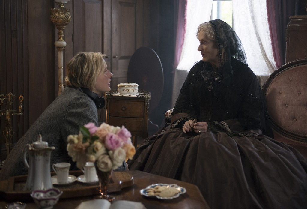"""This image released by Sony Pictures shows, writer-director Greta Gerwig, left, and actress Meryl Streep on the set of """"Little Women."""" Women directed ..."""