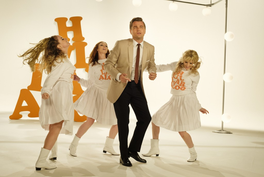 """This image released by Sony Pictures shows Leonardo DiCaprio in Quentin Tarantino's """"Once Upon a Time in Hollywood."""" The film is nominated for a Golde..."""