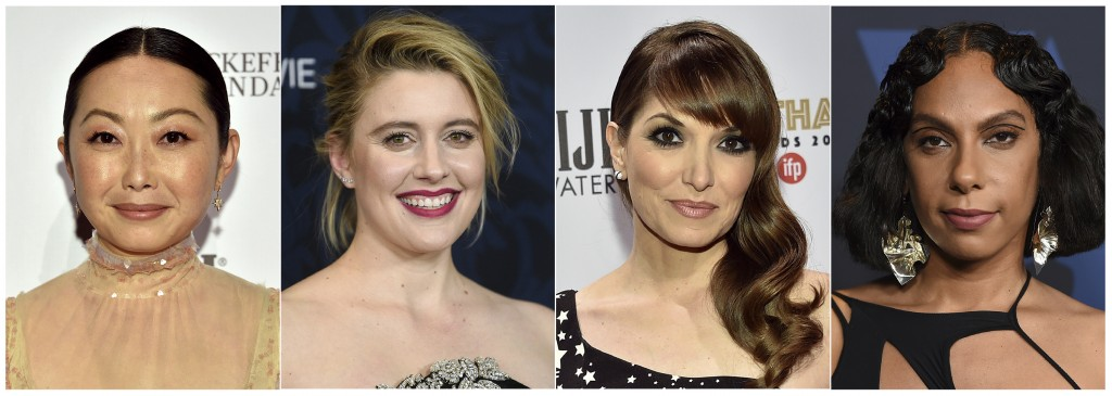 """This combination photo shows, from left, Lulu Wang, director of """"The Farewell,""""  Greta Gerwig, director of """"Little Women,"""" Lorene Scafaria, director o..."""