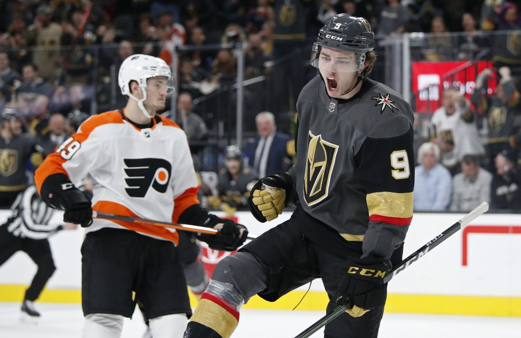 Vegas Golden Knights center Cody Glass (9) celebrates after scoring against the Philadelphia Flyers during the second period of an NHL hockey game Thu...