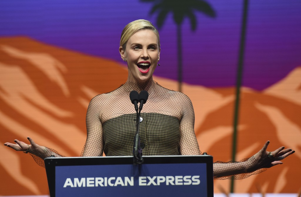 """Charlize Theron accepts the international star actress award for her role in """"Bombshell"""" at the 31st annual Palm Springs International Film Festival A..."""