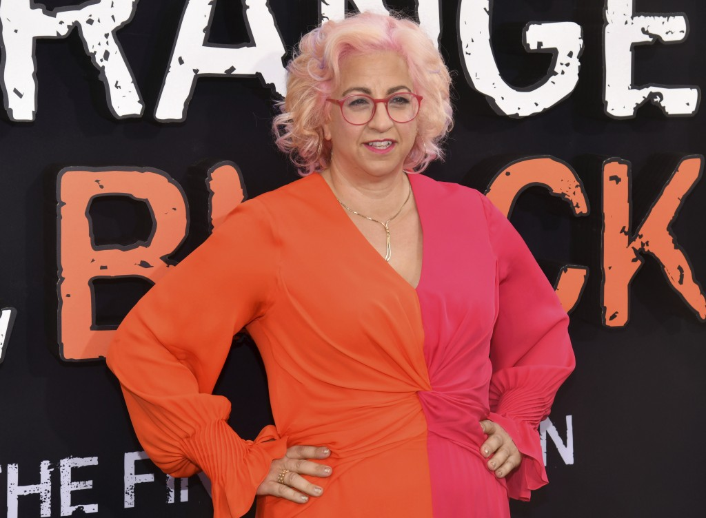 """FILE - This July 25, 2019 file photo shows Jenji Kohan at the final season premiere of Netflix's """"Orange Is the New Black"""" in New York. Police say the..."""