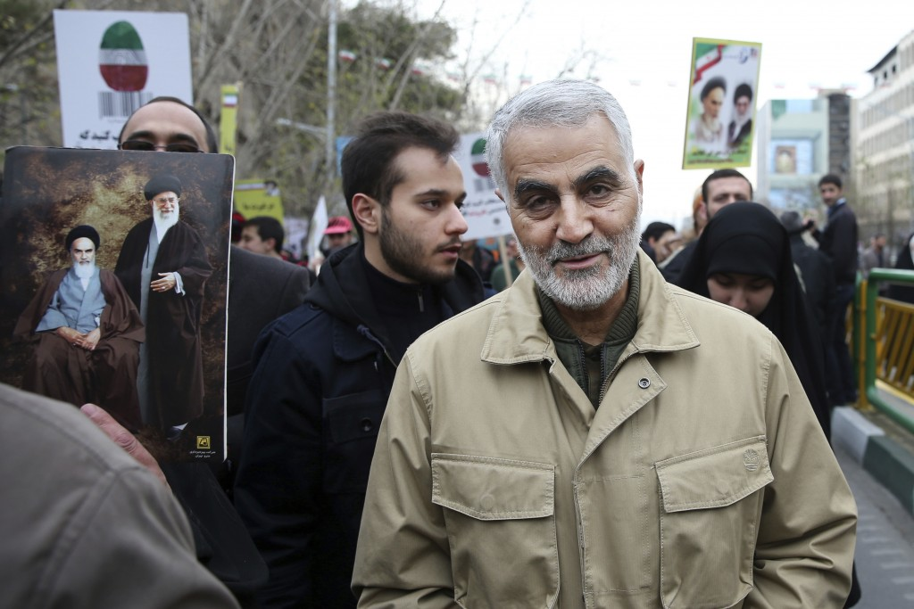 FILE - In this Thursday, Feb. 11, 2016, file photo, Qassem Soleimani, commander of Iran's Quds Force, attends an annual rally commemorating the annive...