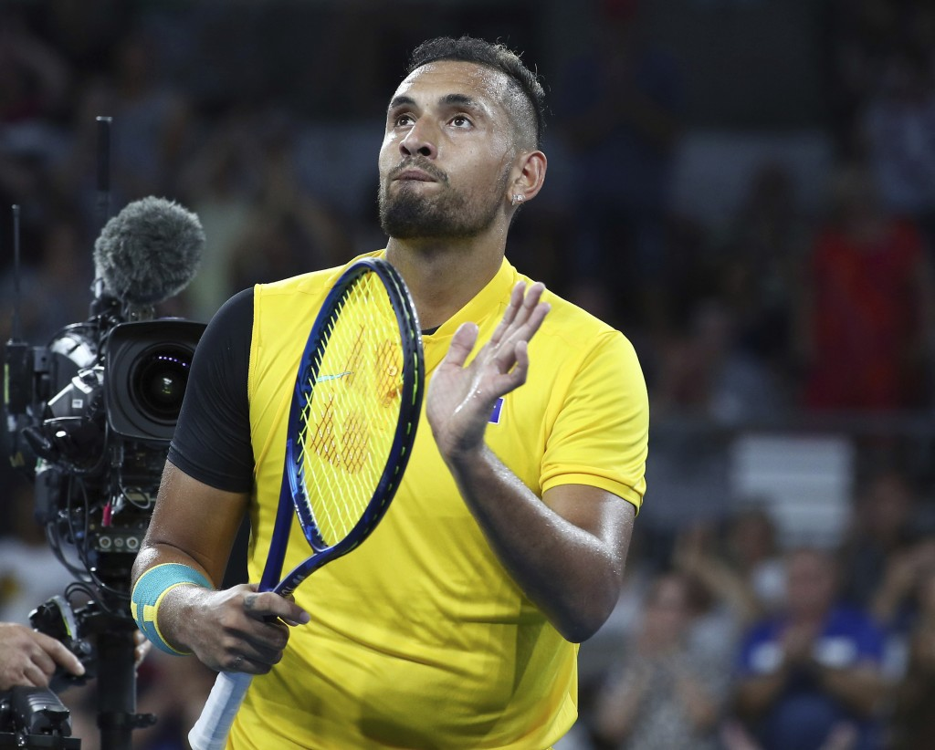 Nick Kyrgios of Australia reacts after winning his match against Jan-Lennard Struff of Germany at the ATP Cup tennis tournament in Brisbane, Australia...
