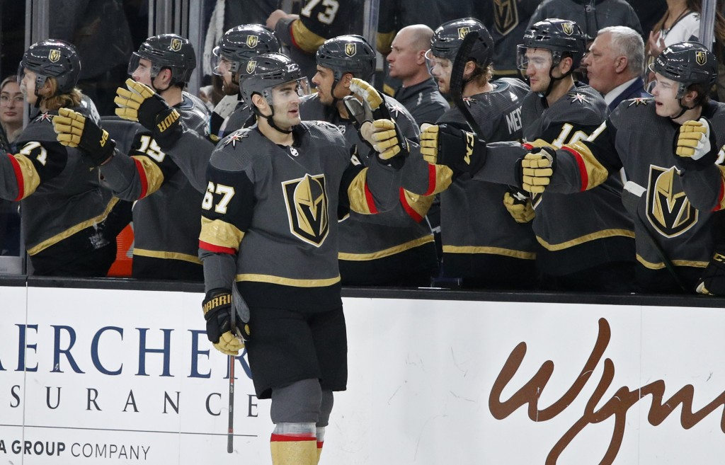 Vegas Golden Knights left wing Max Pacioretty (67) celebrates after scoring against the Philadelphia Flyers during the first period of an NHL hockey g...