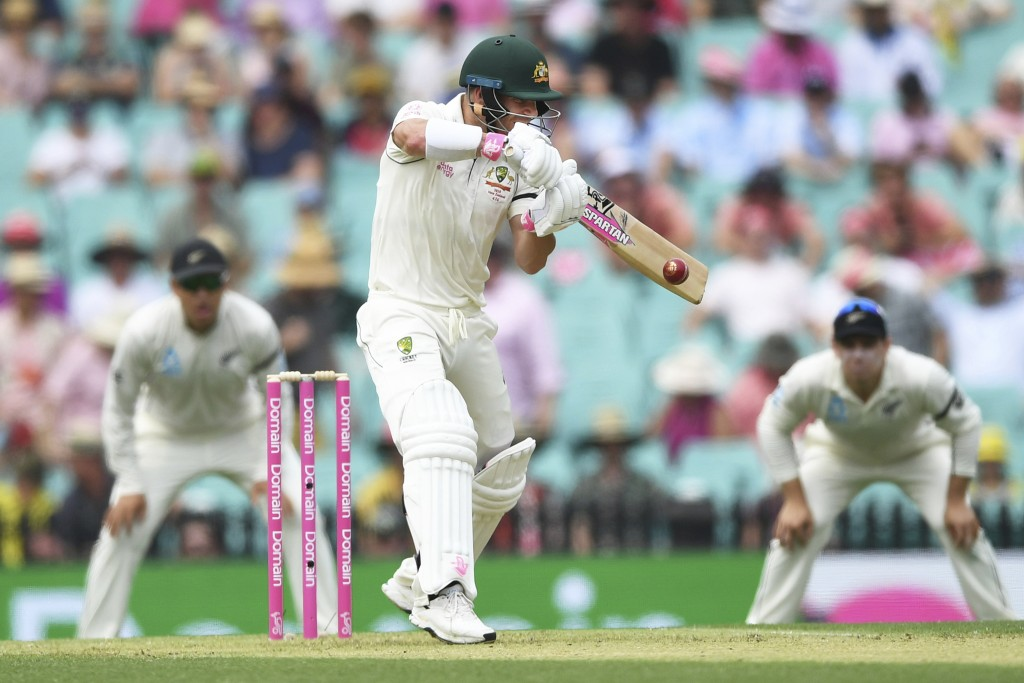 Australia's David Warner bats on day one of the third cricket test match between Australia and New Zealand at the Sydney Cricket Ground in Sydney, Aus...