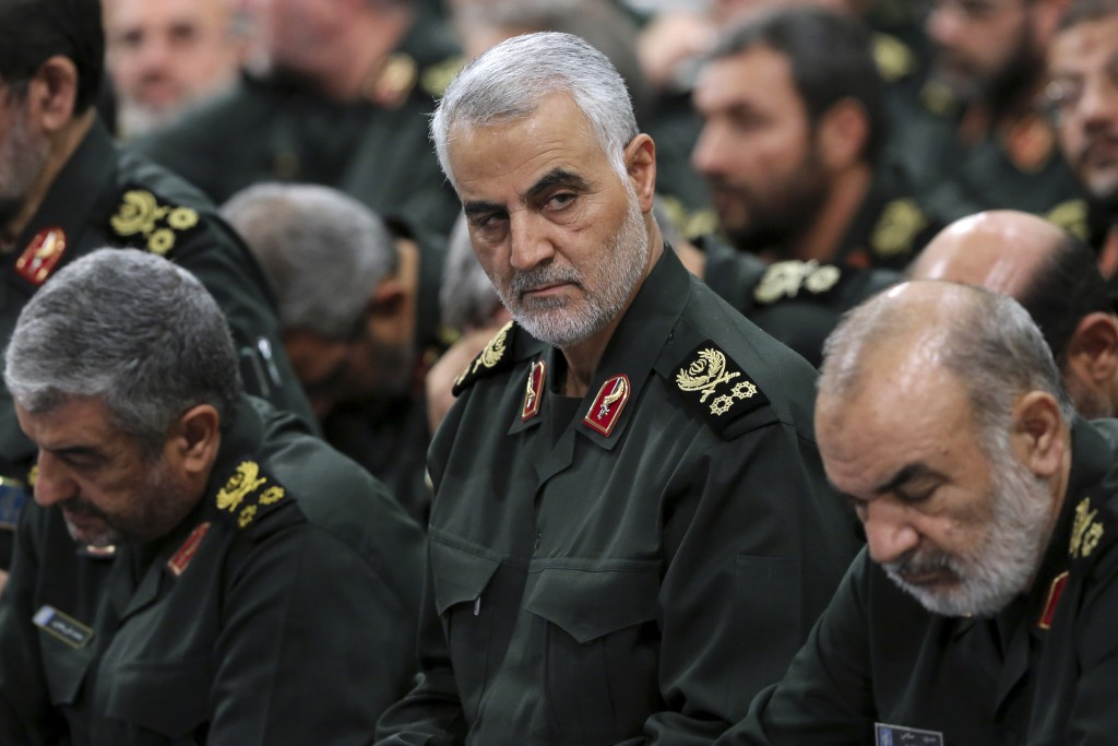 FILE - In this Sept. 18, 2016, file photo provided by an official website of the office of the Iranian supreme leader, Revolutionary Guard Gen. Qassem...