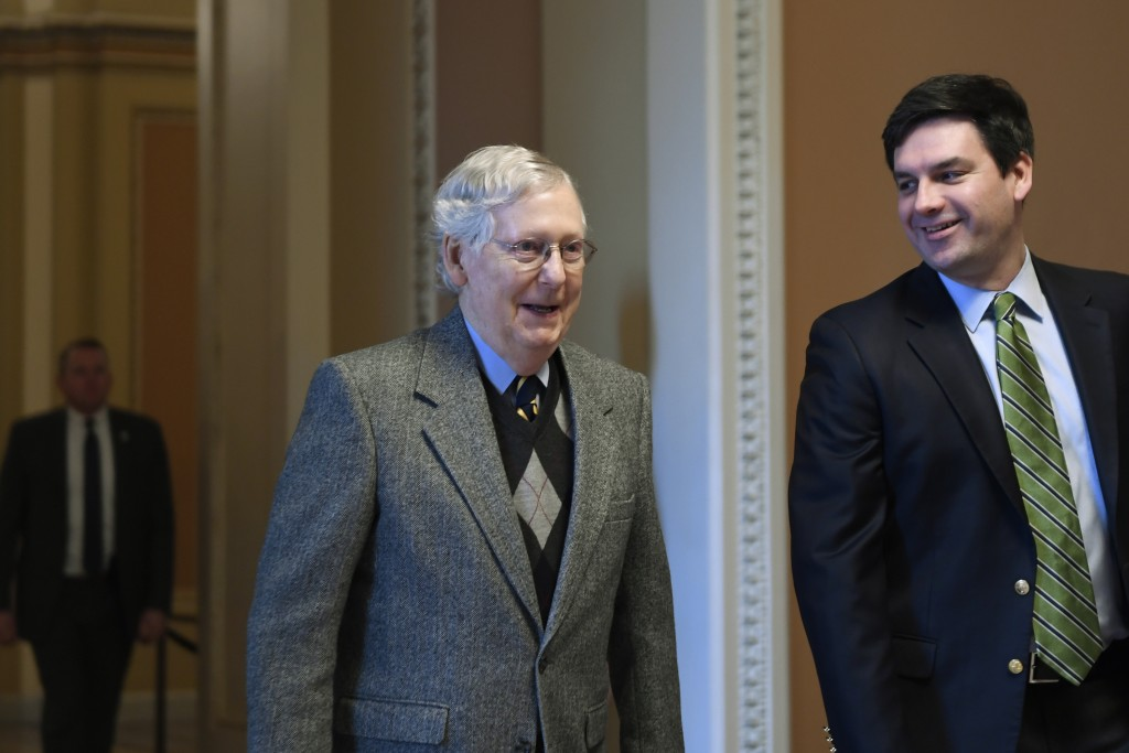 Senate Majority Leader Mitch McConnell of Ky., arrives on Capitol Hill in Washington, Friday, Jan. 3, 2020. (AP Photo/Susan Walsh)