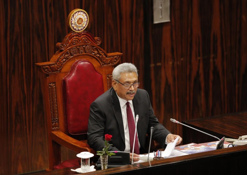 Sri Lankan president Gotabaya Rajapaksa addresses the parliament during the ceremonial inauguration of the session in Colombo, Sri Lanka, Friday, Jan....