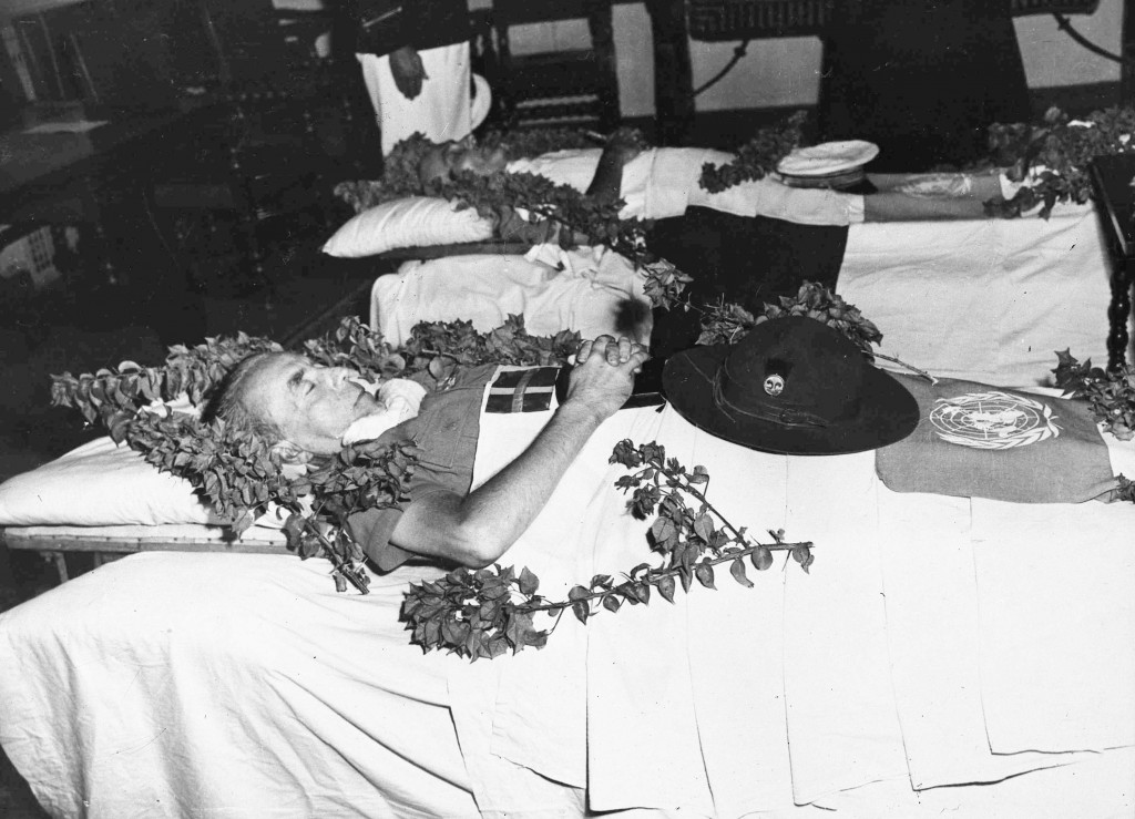 FILE - In this Sept. 17, 1948 file photo, the bodies of Count Folke Bernadotte of Sweden, United Nations Mediator to Palestine, foreground, and French...