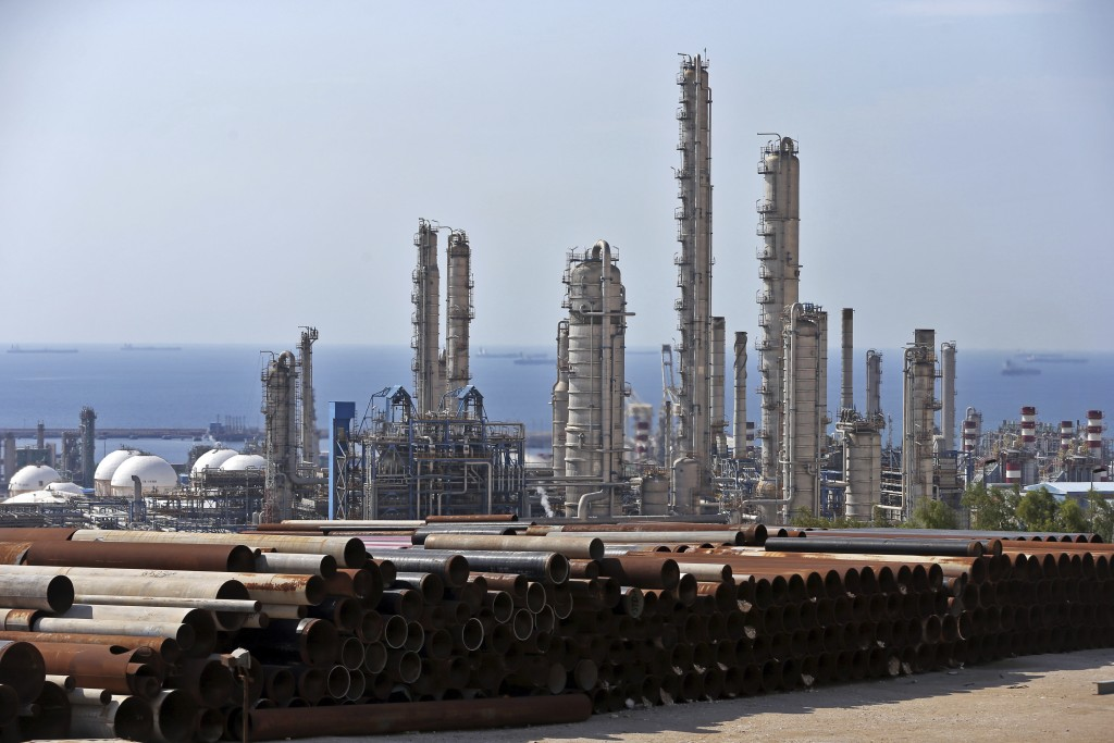FILE - This Nov. 19, 2015,c file photo, shows a general view of a petrochemical complex in the South Pars gas field in Asalouyeh, Iran, on the norther...
