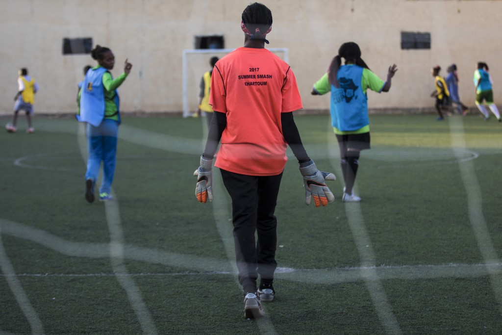 In this Sunday, Oct. 27, 2019 photo, Sudanese al-Tahadi women team practices in Omdurman, Khartoum's twin city, Sudan. The women's soccer league has b...