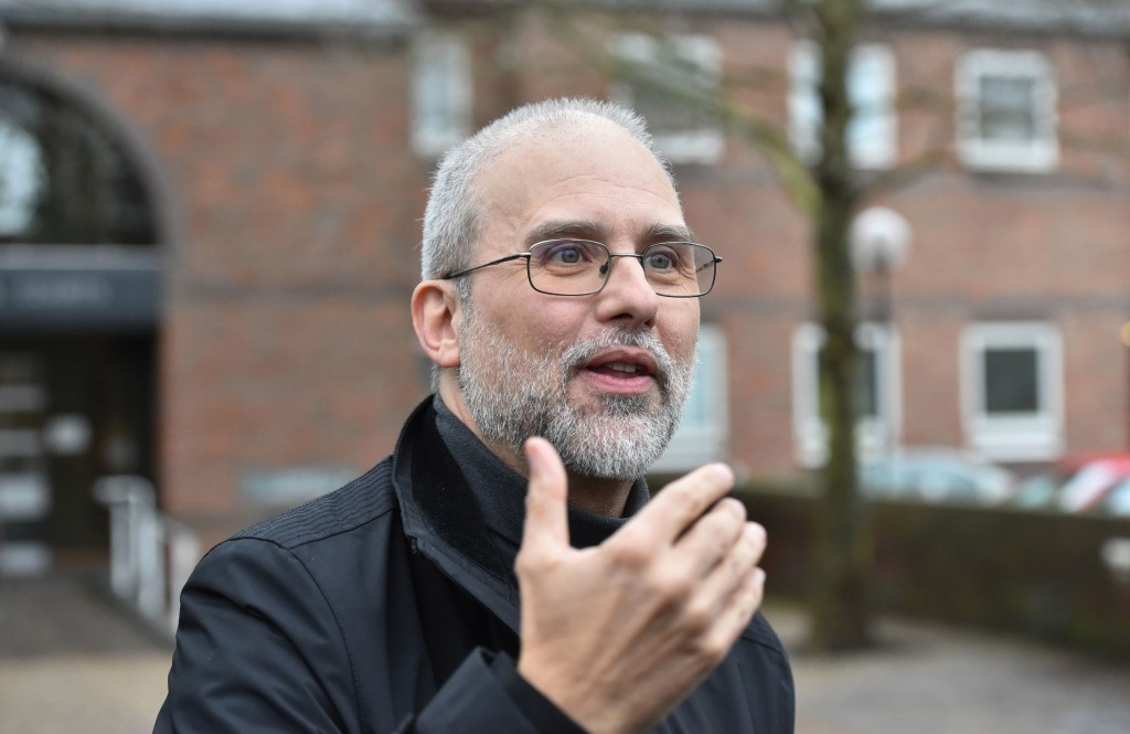 Jordi Casamitjana leaves an Employment Tribunal after it ruled that ethical veganism is a philosophical belief and is therefore protected by law, outs...