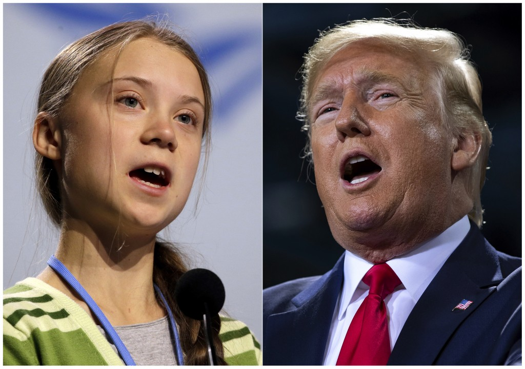 This combination photo shows Swedish climate activist Greta Thunberg speaking at the COP25 summit in Madrid, Spain on Dec. 11, 2019, left, and Preside...
